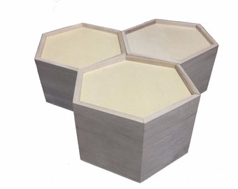 3 pieces of Hexagonal wood boxes