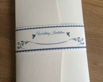 Rustic Wedding Invitation with pocket (ivory/navy)