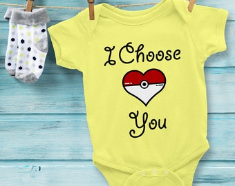 POKEMON Baby Onesie Baby Bodysuit I Choose You. Pokemon Heart Baby Onesie. Great Baby Shower or Christmas Gift. Pokemon Baby Gifts.