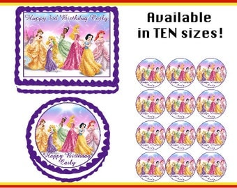 Princess  Edible  Birthday Cake Cupcake Cookie Topper Party Decoration Icing Sheets