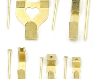 50 Sets Golden Picture Frame photo Hard Wood Hangers Hooks 10lb 20lb 50lb