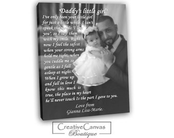 Custom canvas Gift Father's Day Gift from daughter, Father gift from kids, Custom Canvas Photo with Lyrics, First Dance Lyrics, Text, Quotes