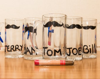 Hand Painted Groomsman Mustache Beer Glass