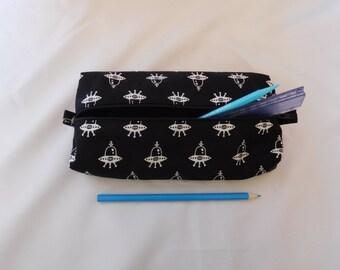Caja de lápiz de la nave espacial, caja de lápiz, útiles escolares caso de lápiz alien alien, nave espacial,