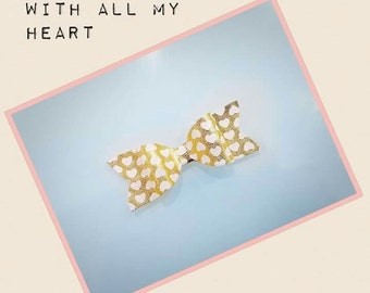 Heart of gold hair bow
