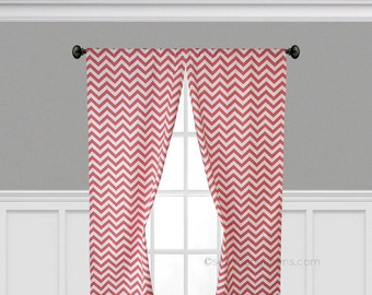 Coral Curtains Chevron Stripe Window Treatments Drapes Panels Coral Home Decor Modern Classic Zig Zag Drapery