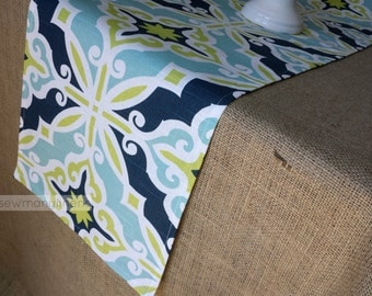 Navy Aqua Turquoise Blue Lime Green Table Runner Table Centerpiece Dining Room Kitchen Decor Geometric Scroll Patterned Runner