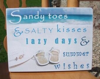 sandy toes salty kisses beach plaque