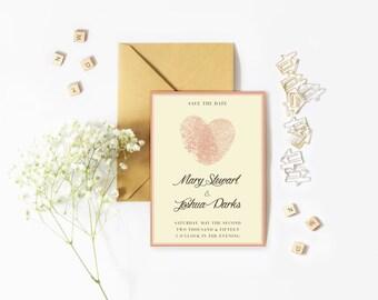 Save The Date, Heart, Thumbprint, Fingerprint, Invitations, Pink, Cursive, Printable, Print-at-home, Invitation