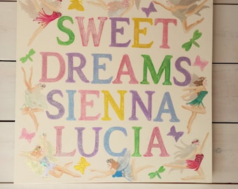 Large Bespoke Name Picture with Fairies