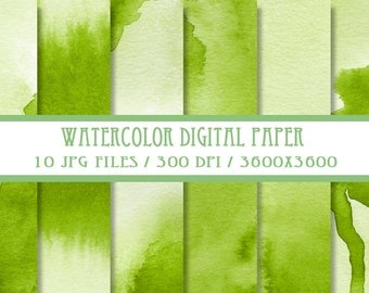 Olive Green Watercolor Digital Paper ( Instant Download )
