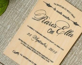 Echtes Holz Einladungen | Hölzerne Einladungen | Holz Hochzeitseinladungen  | Rustikale Einladungen | Holzkarte | Holz