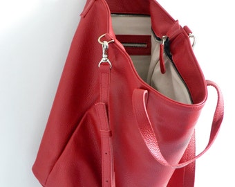 RED LEATHER TOTE, Tote Bag, Oversize Top Zip Red Tote - Italian Pebbled Leather Tote Bag - London Bag -