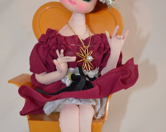 "Vintage Senpo Tokyo Japan Big Eyed Musical Doll in Burgundy Plays ""Somewhere My Love (Lara's Theme)"" from Dr. Zhivago"