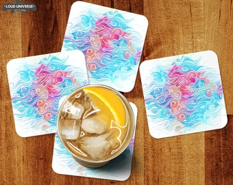 Coaster set of 4 pattern beverage drink coaster set abstract hair pattern table top decor colorful coasters coffee table housewarming gift