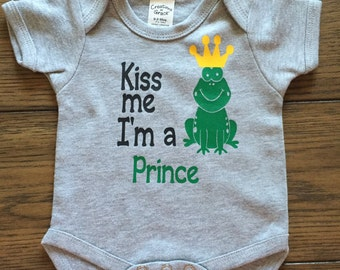 Kiss Me I'm a Prince Onesie, Frog Onesie, Baby Clothing, Unique Gift, Bodysuit, Frog Prince, Prince, Boy onesie