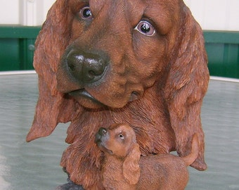 Large Resin Irish Setter Dog Bust With Puppy