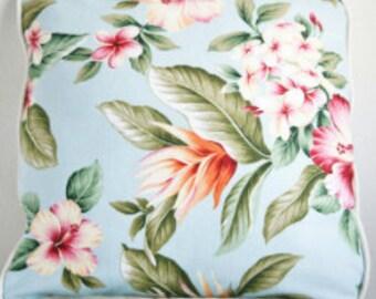 Blue hibiscus cushion cover.