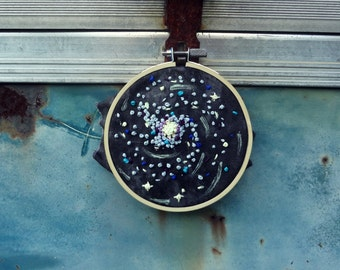 Galaxy Glow in the Dark Embroidery 4 inch Hoop