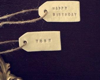 White personalised tag shape keepsake's,