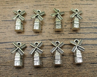 20 Windmill Charms,Antique Silver Tone-RS198