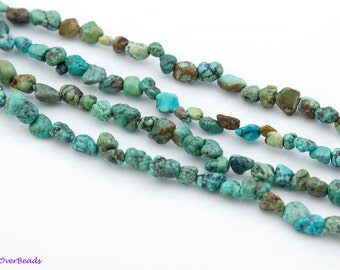 """16"""" Full Strand Natual TURQUOISE Blue Green Brown Chip Beads, approx 3mm - 8mm,"""