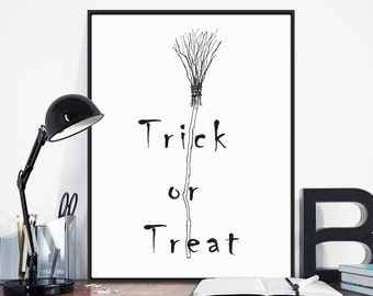 TRICK OR TREAT! Digital Halloween Print- A4/A3- Printable, Wall Art Decor