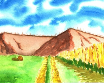 Country Road original watercolor painting, mountain, field