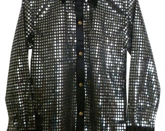 Children's Silver/Black sequin style shirt. Ideal for parties, fancy dress, stage, performance wear. Or just for fun.