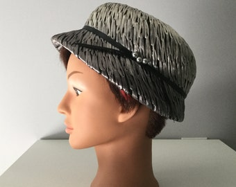 Vintage hat, mini vintage hat, exclusive, summer hat, gray color, eco-friendly headwear