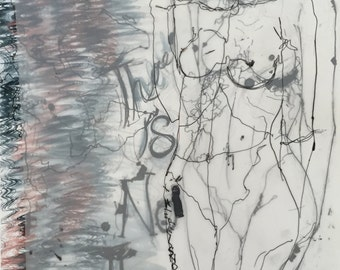 Abstract Drawing, Female Figure Painting