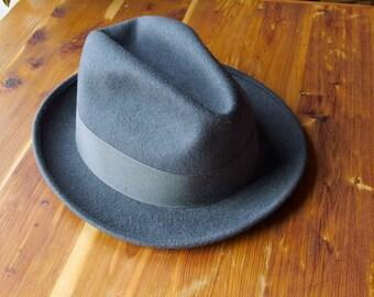 Vintage Wool Felt Fedora Hat Dark Gray