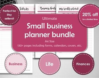 Small business planner bundle, printable. Etsy sellers digital binder. A4 size. Business, finances management. Etsy shop owner. Order form.