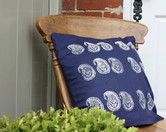 Zimbabwe Print Cushion in Navy