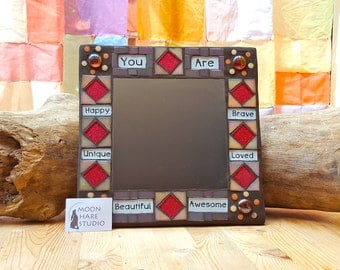 Positive Affirmation Mosaic Mirror Pink Purple