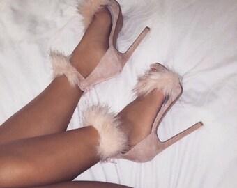 Faux Fur Strappy Sandal High Heel Pumps