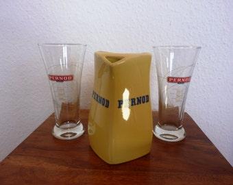 Pernod Pastis Set - Karaffe mit 2 seltenen Jubiläumsgläsern