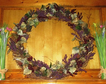 "Rustic Winter Wreath, 36"" Living room wreath, floral home accent, Large Wreath"