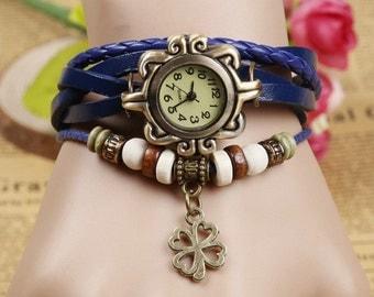 Vintage Women's Leather Quartz Watch Bracelet