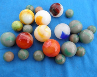 Vintage Peltier Marbles  Ottawa Illinois Marbles Shooters etc Greens Reds Yellows Blues