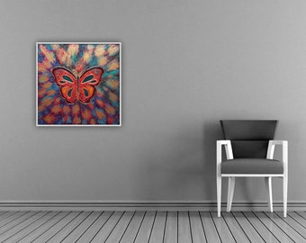 Original painting with led lights - Butterfly