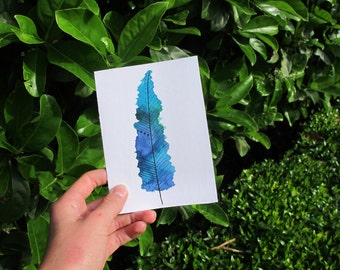 Blue And Green Watercolour Feather Card, Feather Greeting Card, Feather Illustration