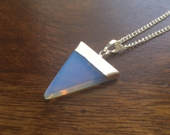 Opalite Natural Crystal Triangle Necklace- The Spiritual One