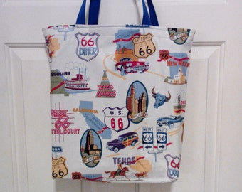 Route 66 print grocery shipping bag
