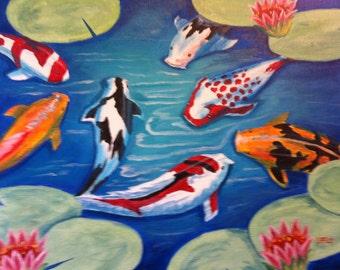 "11 x 14 Original Oil Painting on Canvas Board....""Koi Pond"""