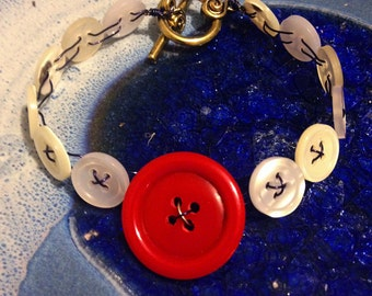 Red and White Button Bracelet