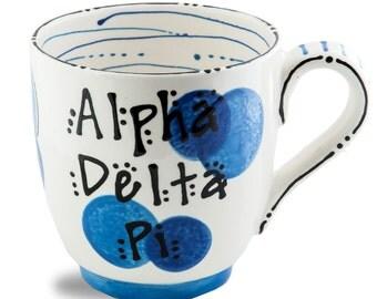 ADPI  Alpha Delta Pi Sorority Ceramic Hand Painted Mug.