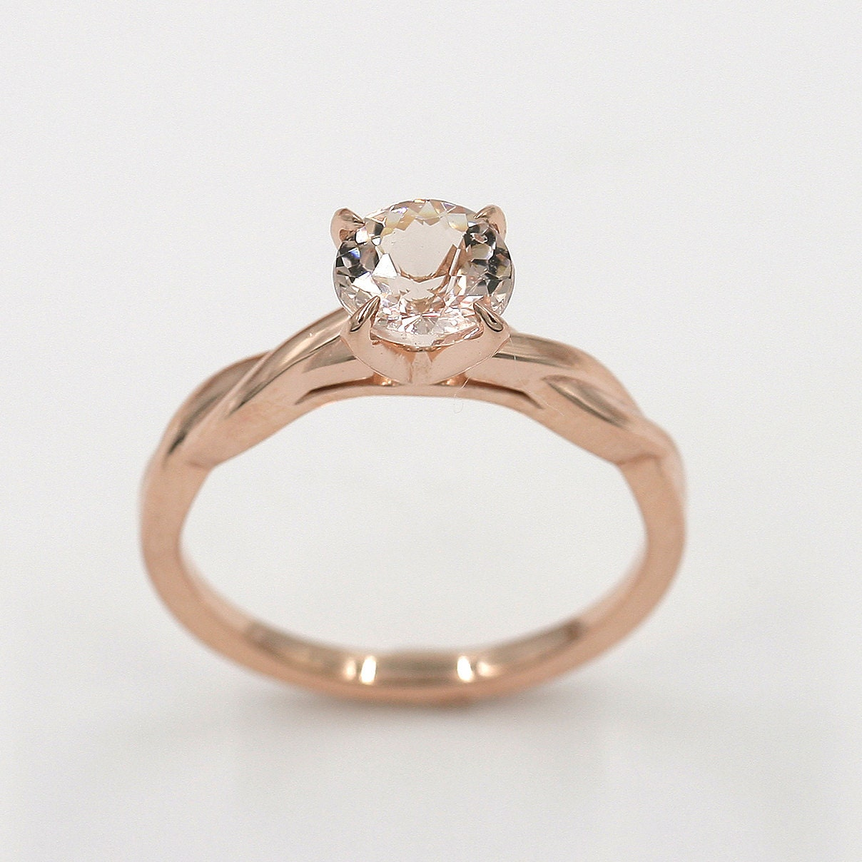 Morganite Engagement Ring Simple Wedding Ring Rose Gold