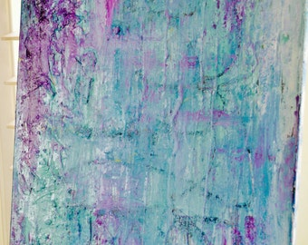 Blue Purple Abtract Acrylic on Canvas 18x24 Heavily Textured Layered