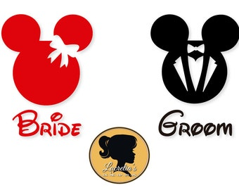Bride and Groom svg, Mickey Mouse,Minnie Mouse, SVG files for Silhouette Cameo or Cricut, Couple svg, vector, svg, dxf eps